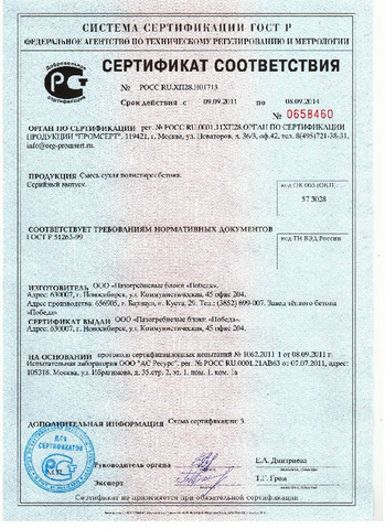 Сертификат на сухую бетонную смесь прочность бетона б20
