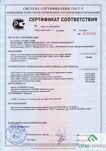 сертификаты соответствия железо листовое